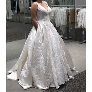 Satin Ball Gown Wedding Dress with Plunging V-Neck